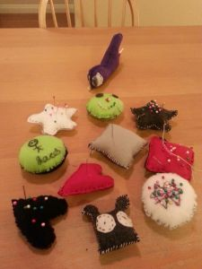 Sarah and Jacob's felt pin cushions and plashes